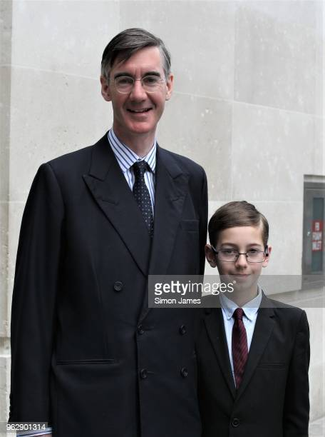 Jacob ReesMogg and son Peter ReesMogg seen leaving the BBC Studios on May 27 2018 in London England