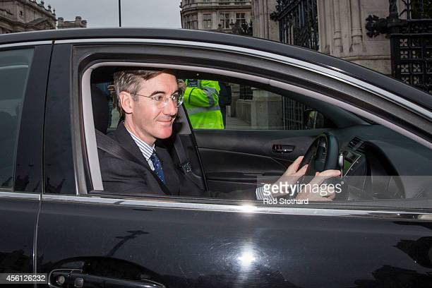 Jacob ReesMogg arrives at The Houses of Parliament on September 26 2014 in London England MPs will vote later today on whether the UK should join air...