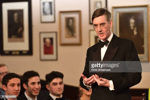 Jacob ReesMogg at The Cambridge Union on Brexit debating 'no deal is better than a bad deal' on February 8 2018 in Cambridge Cambridgeshire
