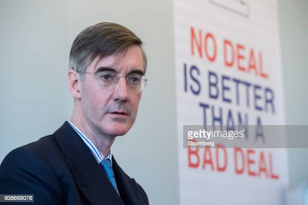 Jacob ReesMogg Conservative lawmaker pauses during a Brexit event in London UK on Tuesday March 27 2018 UK The UK's withdrawal from the European...