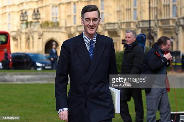 Jacob ReesMogg is interviewed in Westminister after British Chancellor of the Exchequer George Osborne reveals the 2016 budget statement on March 16...