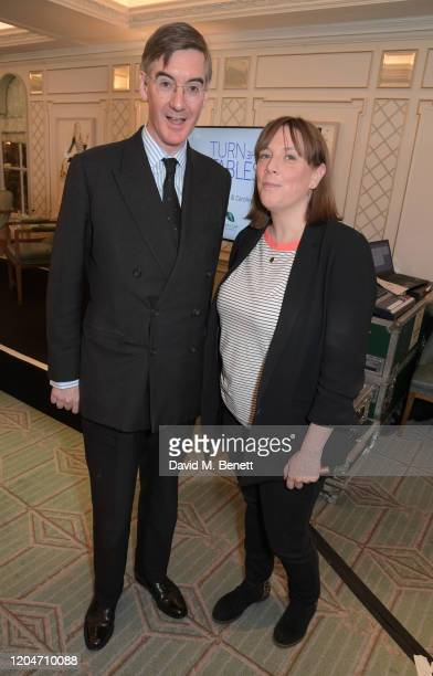 Jacob ReesMogg MP and Jess Phillips attend Turn The Tables 2020 hosted by Tania Bryer and James Landale in aid of Cancer Research UK at Fortnum Mason...