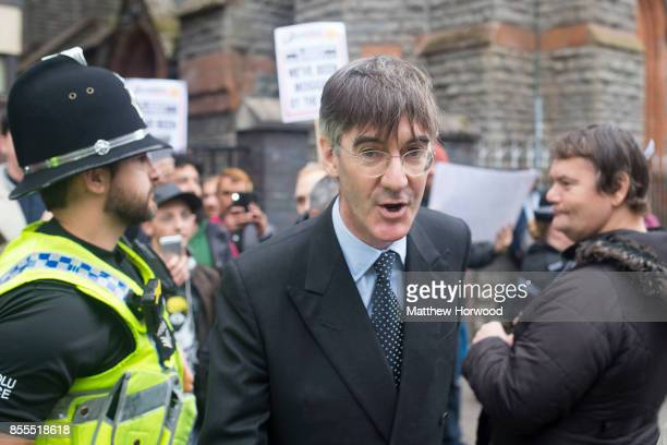 Jacob ReesMogg MP for North East Somerset is met by protestors ahead of a talk called 'Faith in the Future' at the Cornerstone Church on September 29...