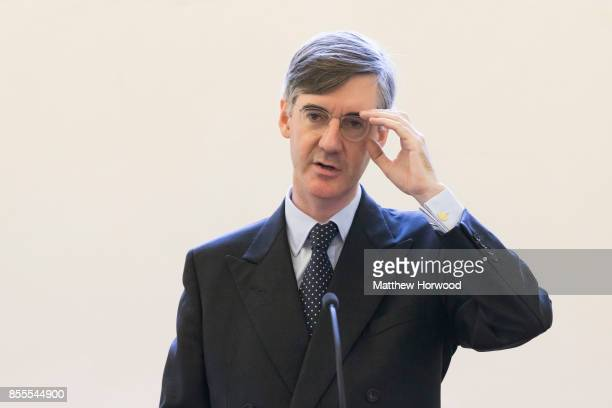 Jacob ReesMogg MP for North East Somerset speaks during a talk called Faith in the Future at the Cornerstone Church on September 29 2017 in Cardiff...