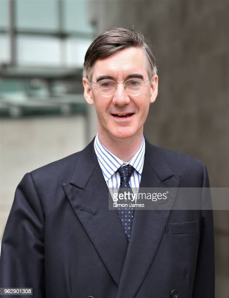 Jacob ReesMogg seen leaving the BBC Studios on May 27 2018 in London England