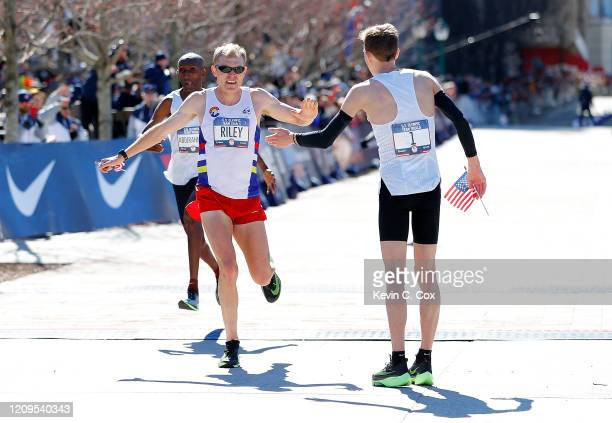 Jacob Riley reacts after finishing in second place during the Men's U.S. Olympic marathon team trials on February 29, 2020 in Atlanta, Georgia.