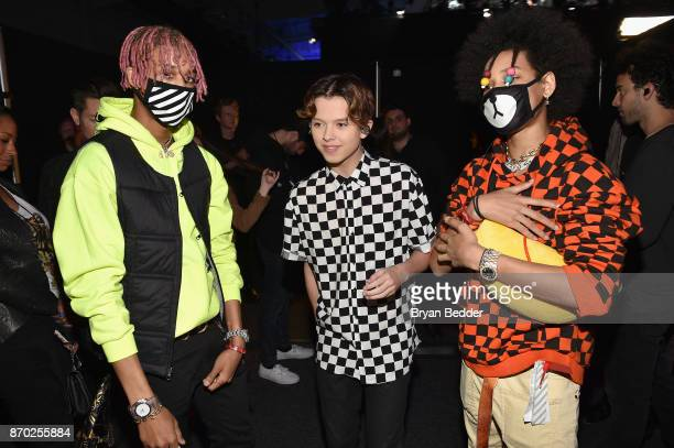 Jacob Sartorius with AYO TEO pose backstage at the 2017 Nickelodeon HALO Awards at Pier 36 on November 4 2017 in New York City