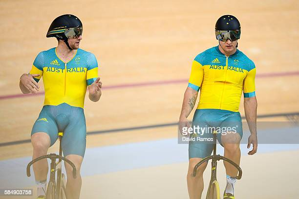 Jacob Schmid and Patrick Constable of Australia Men's Cycling Track team practice during a track cycling training session at the Rio Olympic...