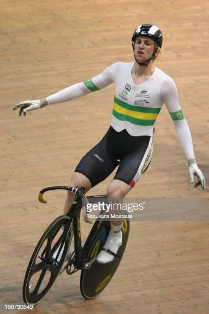 Jacob Schmid of Australia celebrates after winning the Mens Keirin during the final day of the 2012 UCI Junior Track World Track Championships on...