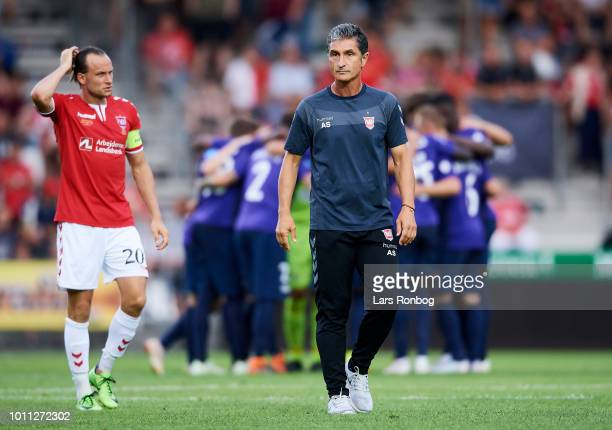 Jacob Schoop of Vejle Boldklub and Adolfo Sormani head coach of Vejle Boldklub during halftime in the Danish Superliga match between Vejle Boldklub...
