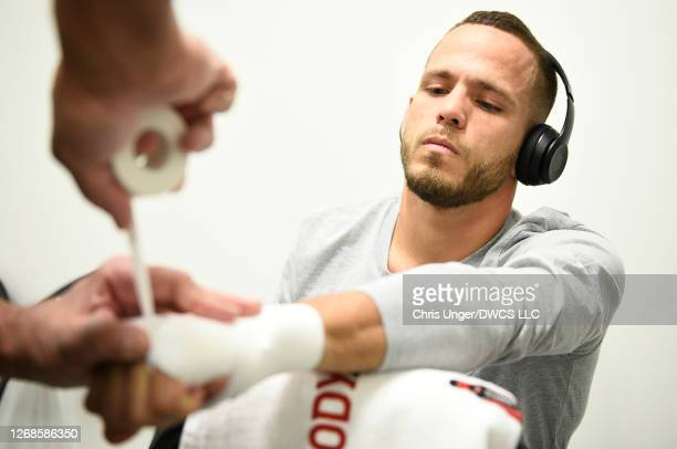 Jacob Silva has his hands wrapped prior to his fight during week four of Dana White's Contender Series season four at UFC APEX on August 25 2020 in...