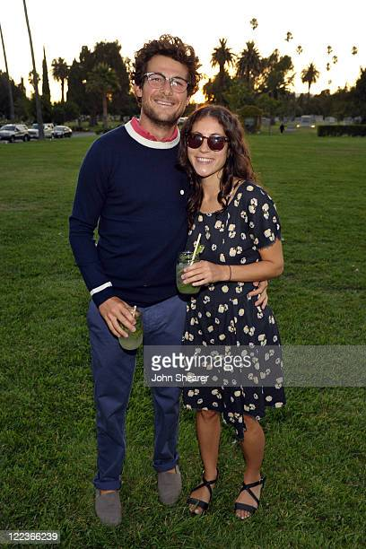 Jacob Soboroff and Nicole Cari attend the Band of Outsiders NETAPORTER and MRPORTERcom summer event at the Hollywood Forever cemetery on August 24...