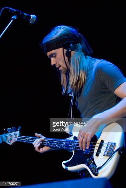 Jacob Sproul of Rose Hill Drive performs on stage at Palacio de Deportes on May 17, 2007 in Madrid, Spain.