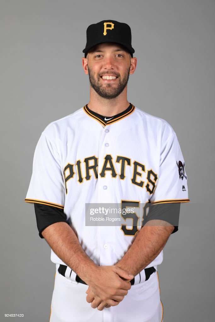 Jacob Stallings #58 of the Pittsburgh Pirates poses during Photo Day on Wednesday, February 21, 2018 at LECOM Park in Bradenton, Florida.