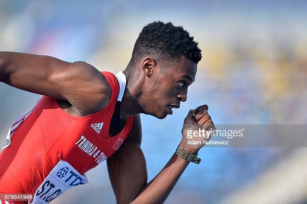 Jacob StClair from Trinidad and Tobago competes in men's 4x400 meters relay final during the IAAF World U20 Championships at the Zawisza Stadium on...