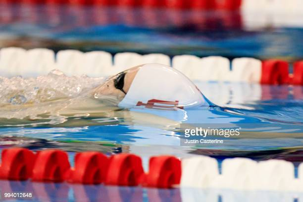 Jacob Steele competes in the men's 100m backstroke prelims at the 2018 TYR Pro Series on July 8 2018 in Columbus Ohio