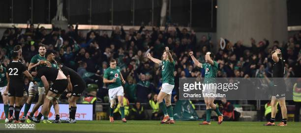 Jacob Stockdale of Ireland celebrates at the final whistle following the International Friendly rugby match between Ireland and New Zealand on...