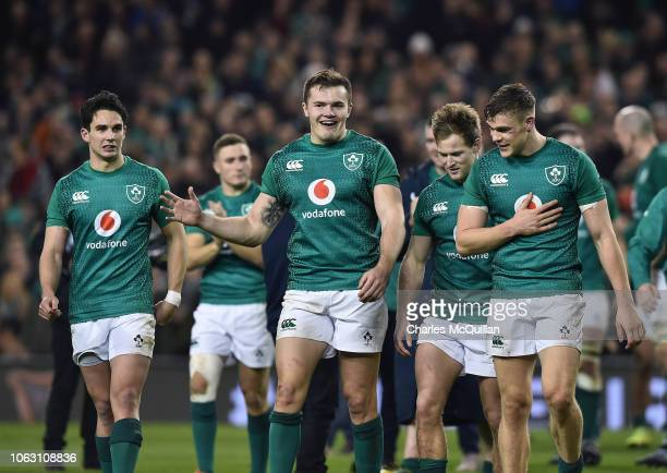 Jacob Stockdale of Ireland celebrates at the final whistle with team mates following the International Friendly rugby match between Ireland and New...