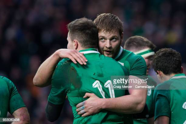 Jacob Stockdale of Ireland celebrates scoring his sides third try with team mate Iain Henderson during the NatWest Six Nations Championship match...