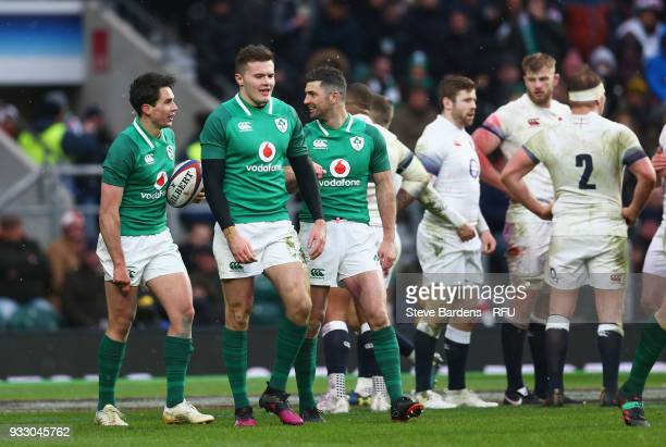 Jacob Stockdale of Ireland celebrates with teammates after scoring his sides third try during the NatWest Six Nations match between England and...