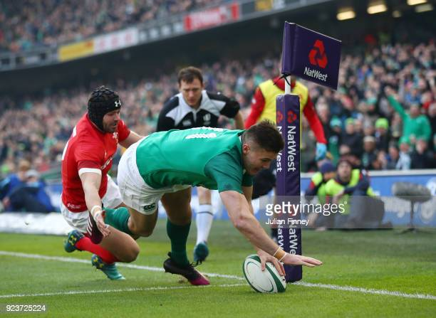 Jacob Stockdale of Ireland dives in for a first half try during the NatWest Six Nations match between Ireland and Wales at Aviva Stadium on February...