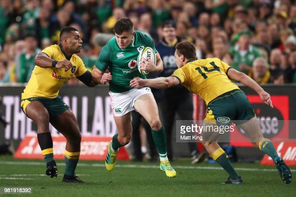 Jacob Stockdale of Ireland is tackled during the Third International Test match between the Australian Wallabies and Ireland at Allianz Stadium on...