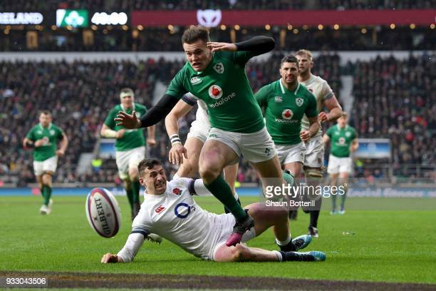 Jacob Stockdale of Ireland on his way to touching down his sides third try during the NatWest Six Nations match between England and Ireland at...