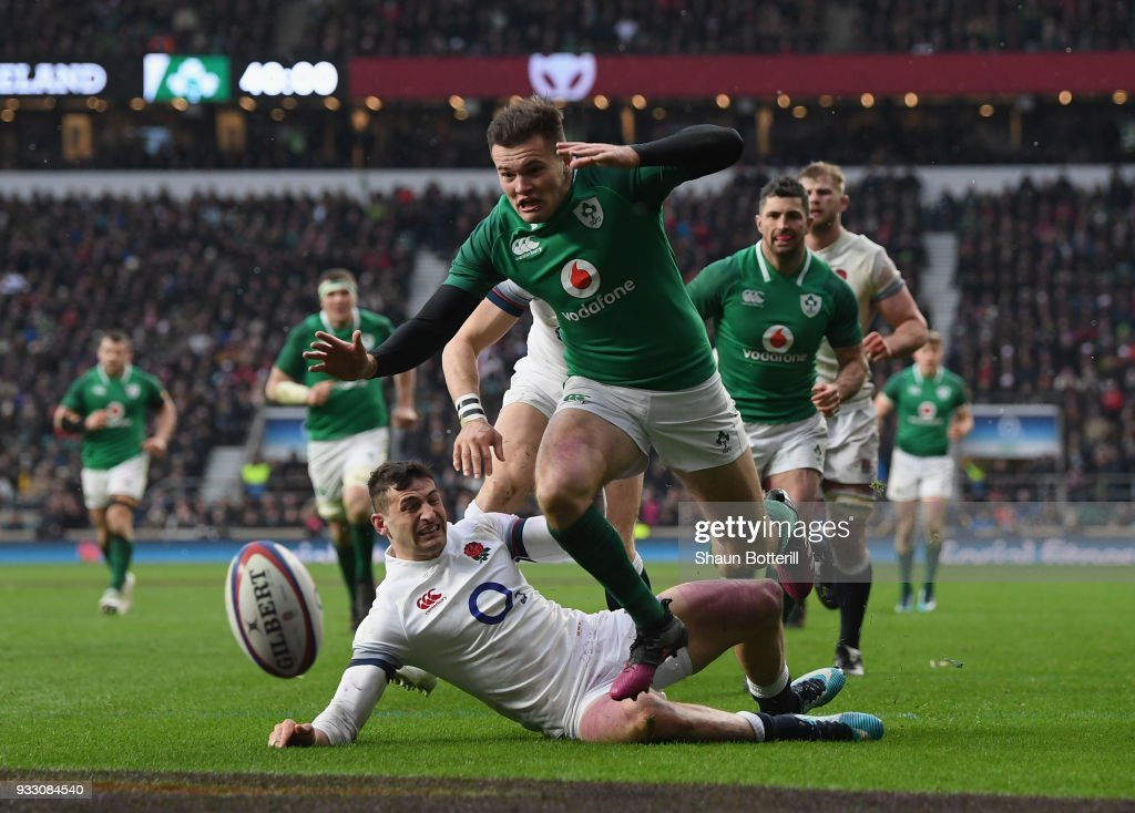 Jacob Stockdale of Ireland on his way to touching down his sides third try during NatWest Six Nations match between England and Ireland at Twickenham Stadium on March 17, 2018 in London, England.
