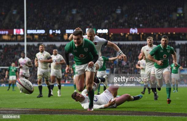 Jacob Stockdale of Ireland on his way to touching down his sides third try during NatWest Six Nations match between England and Ireland at Twickenham...