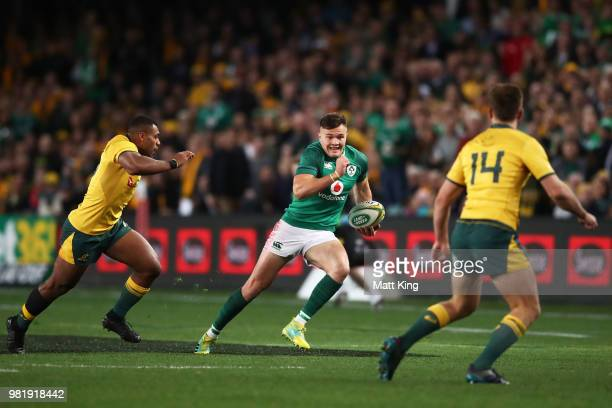 Jacob Stockdale of Ireland runs with the ball during the Third International Test match between the Australian Wallabies and Ireland at Allianz...
