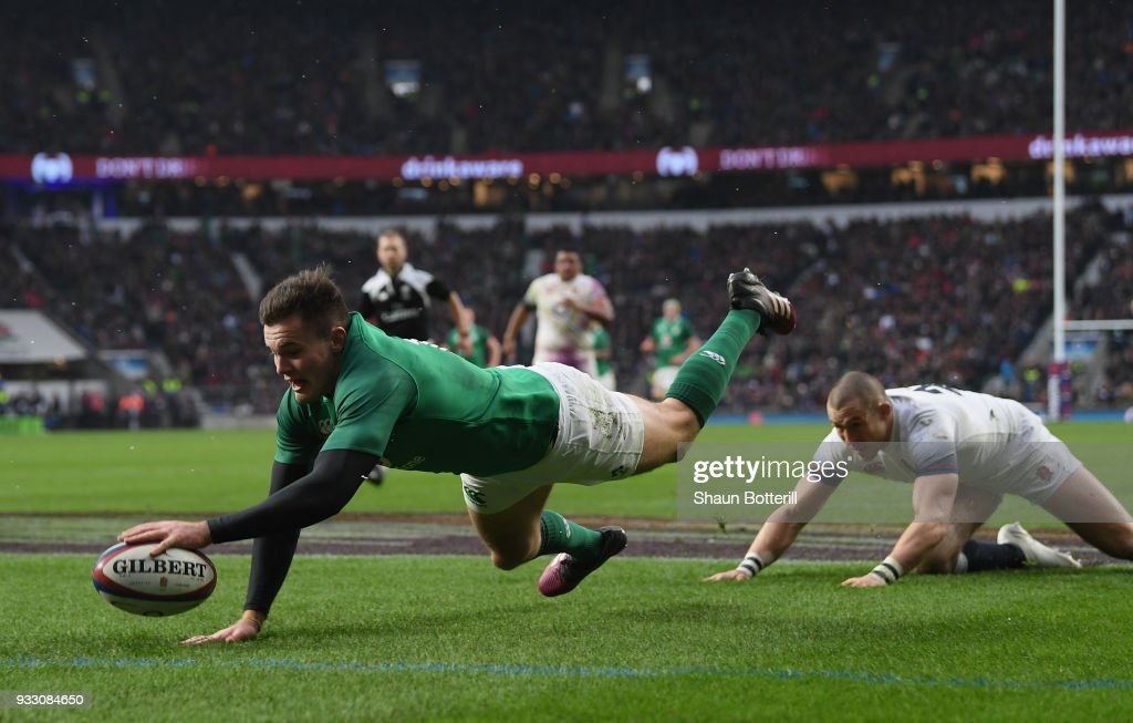 Jacob Stockdale of Ireland scores his sides third try during NatWest Six Nations match between England and Ireland at Twickenham Stadium on March 17, 2018 in London, England.