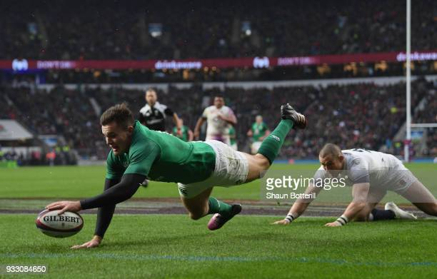 Jacob Stockdale of Ireland scores his sides third try during NatWest Six Nations match between England and Ireland at Twickenham Stadium on March 17,...