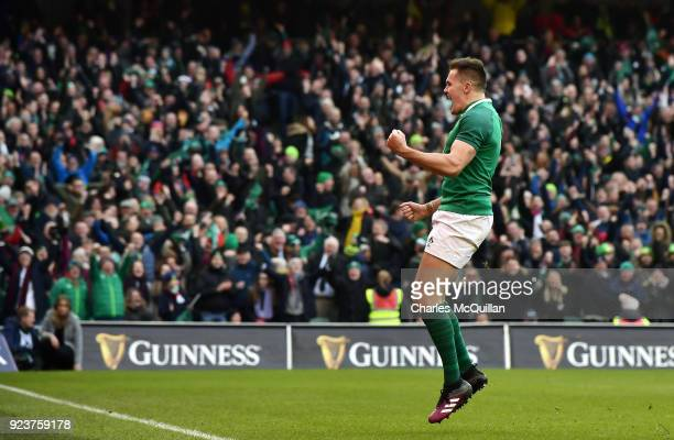 Jacob Stockdale of Ireland scores the decisive try during the Six Nations Championship rugby match between Ireland and Wales at Aviva Stadium on...