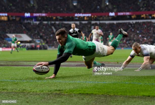 Jacob Stockdale of Ireland touches down his side's third try during the NatWest Six Nations match between England and Ireland at Twickenham Stadium...