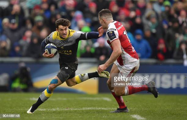 Jacob Stockdale of Ulster and Paul Jordaan of La Rochelle during the European Rugby Champions Cup match between Ulster Rugby and La Rochelle at...
