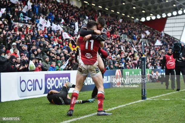 Jacob Stockdale of Ulster celebrates scoring his side's second try during the European Rugby Champions Cup match between Ulster Rugby and La Rochelle...