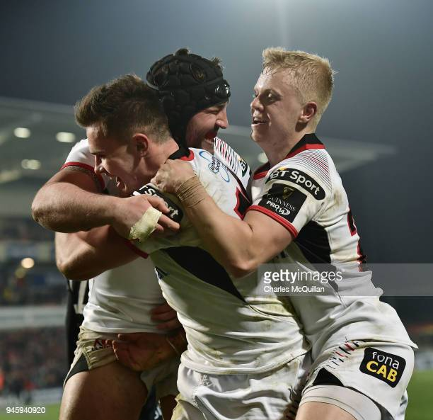 Jacob Stockdale of Ulster celebrates with team mates after scoring the only try of the game in the dying seconds of the Guinness Pro14 rugby game...