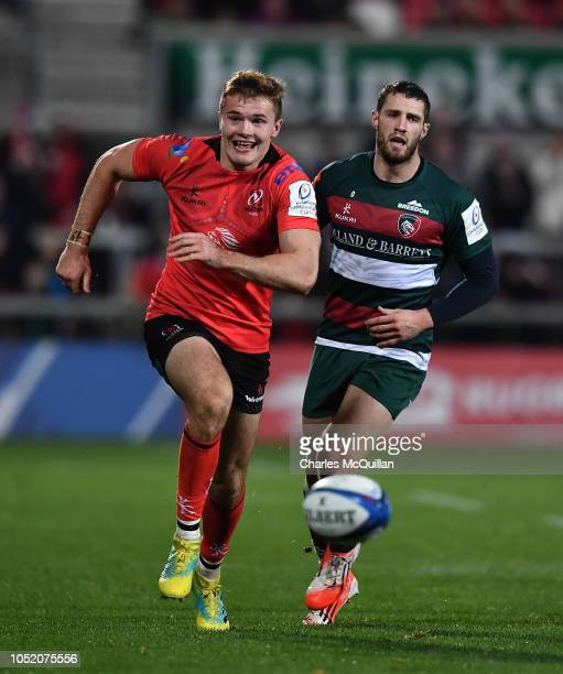 Jacob Stockdale of Ulster during the Champions Cup match between Ulster Rugby and Leicester Tigers at Kingspan Stadium on October 13 2018 in Belfast...