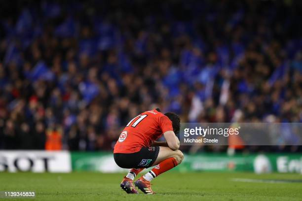 Jacob Stockdale of Ulster is dejected at the final whistle during the Heineken Champions Cup QuarterFinal match between Leinster Rugby and Ulster...