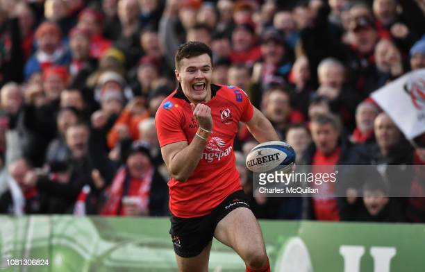 Jacob Stockdale of Ulster runs through to score a try during the Champions Cup match between Ulster Rugby and Racing 92 at Kingspan Stadium on...