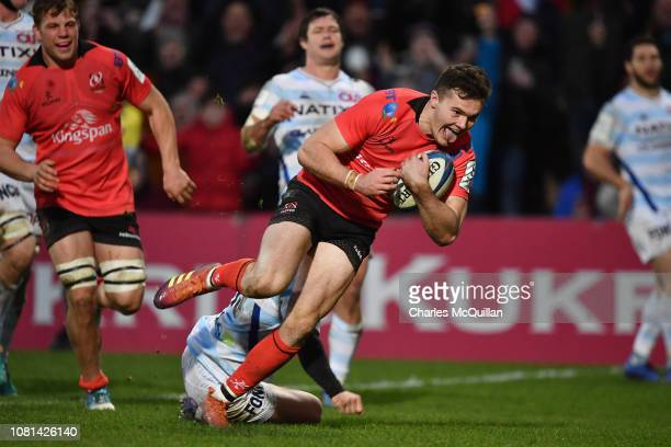 Jacob Stockdale of Ulster scores a try during the Champions Cup match between Ulster Rugby and Racing 92 at Kingspan Stadium on January 12, 2019 in...