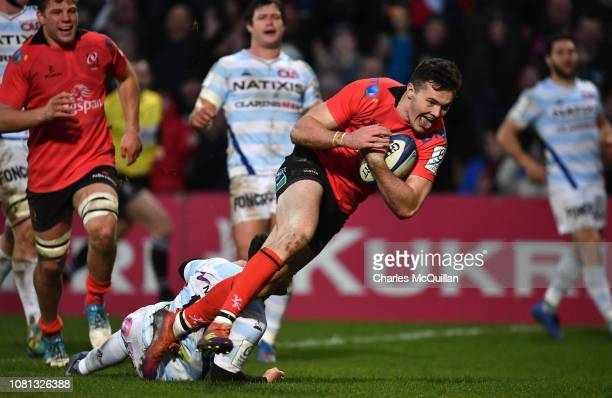 Jacob Stockdale of Ulster scores his second try during the Champions Cup match between Ulster Rugby and Racing 92 at Kingspan Stadium on January 12...