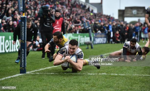 Jacob Stockdale of Ulster scores his side's second try during the European Rugby Champions Cup match between Ulster Rugby and La Rochelle at Kingspan...