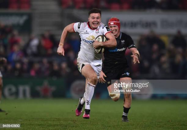 Jacob Stockdale of Ulster slips past the Ospreys back line to score the only try of the game in the dying seconds of the Guinness Pro14 rugby game at...
