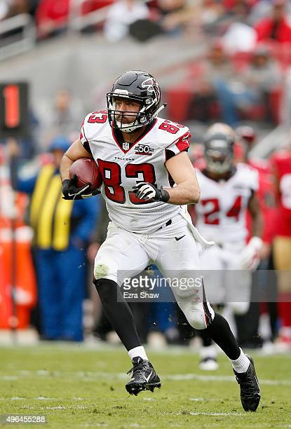 Jacob Tamme of the Atlanta Falcons in action against the San Francisco 49ers at Levi's Stadium on November 8, 2015 in Santa Clara, California.