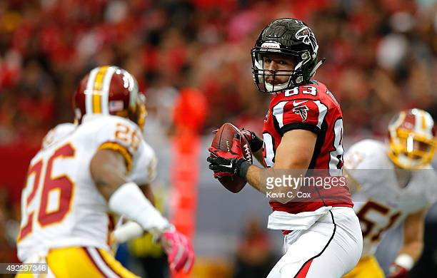 Jacob Tamme of the Atlanta Falcons pulls in this reception against Bashaud Breeland of the Washington Redskins at Georgia Dome on October 11, 2015 in...