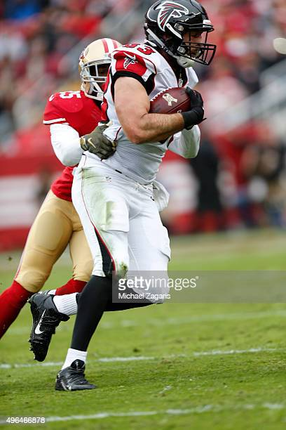 Jacob Tamme of the Atlanta Falcons runs after making a reception during the game against the San Francisco 49ers at Levi Stadium on November 8, 2015...