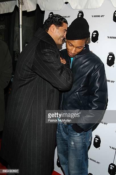 Jacob 'The Jeweler' Arabo and Pharrell Williams attend Pharrell Williams Hosts the Store Opening of Nigo's 'A Bathing Ape' at A Bathing Ape Store on...