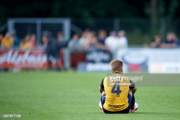 Jacob Tjornelund of Hobro IK looks dejected after the Danish Superliga match between Hobro IK and Brondby IF at DS Arena on July 29 2018 in Hobro...