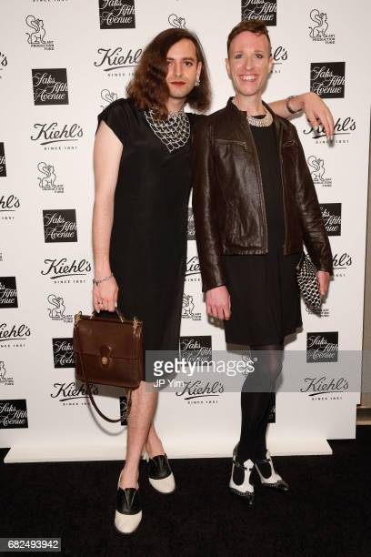 Jacob Tobia and Jeffrey Marsh attend Saks Fifth Avenue Kiehl's and Art Production Fund celebrate the unveiling of Jeff Koons' Seated Ballerina at...